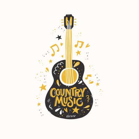 Illustration mit Akustikgitarre und Handbeschriftung. Tolles Element für Musikfestival oder T-Shirt. Vektorkonzept.