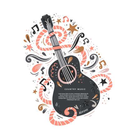 Illustratie met akoestische gitaar en plaats voor uw tekst erop. Geweldig element voor muziekfestival of banner gemaakt in vector.