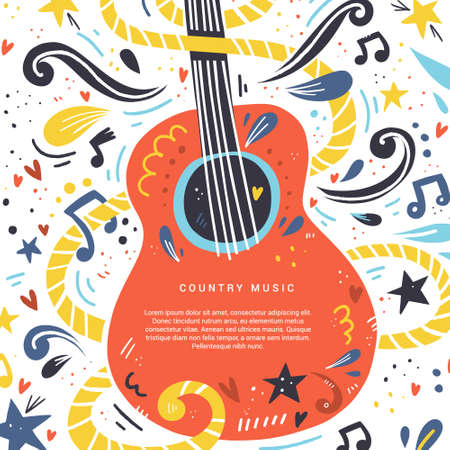 Illustrazione con chitarra acustica e posto per il testo su di essa. Ottimo elemento per festival musicali o banner realizzati in vettoriale. Vettoriali