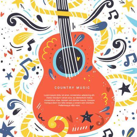 Ilustración con guitarra acústica y lugar para su texto. Gran elemento para festival de música o banner hecho en vector. Ilustración de vector