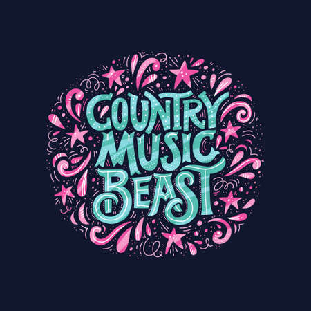 Vintage style round poster with lettering Country Music Beast. Element for music festival or t-shirt made in vector.