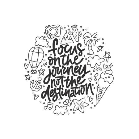 Circle concept with quote - Focus on journey not the destination. Vector illustration.