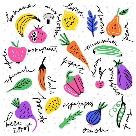 Different fruits and vegetables including banana, potato, peas made in freestyle vector with hand lettered names. Vector illustration. Stock Illustratie