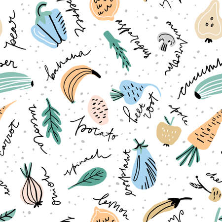 Hand drawn pattern with different fruits and vegetables including made in freestyle vector with hand lettered names. Vector illustration. Zdjęcie Seryjne - 116800362