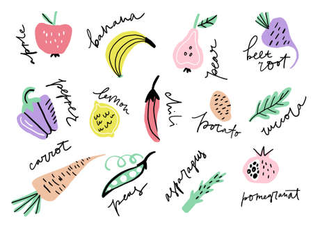 Different fruits and vegetables including pear, beetroot, apple made in freestyle vector with hand lettered names. Vector illustration.