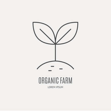 Line style icon of growing seed. Clean and modern vector illustration.