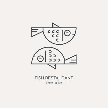 Line style icon of a fish. Clean and modern vector illustration.