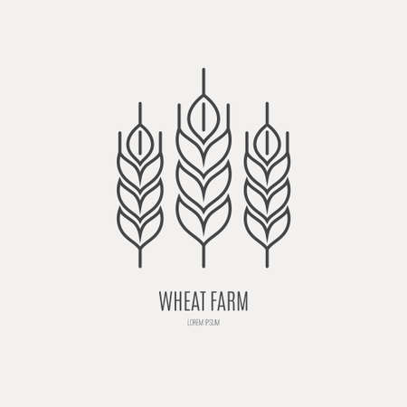 Line style icon of a wheat. Clean and modern vector illustration. Иллюстрация