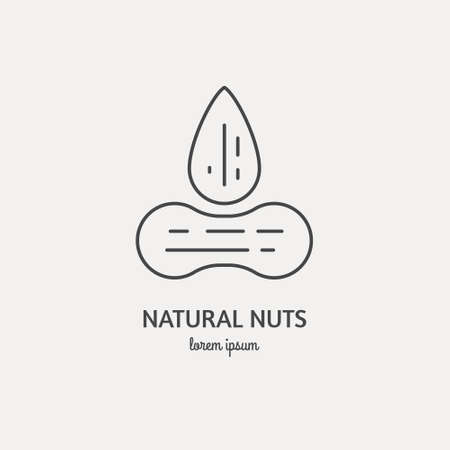 Line style icon of nuts. Clean and modern vector illustration.