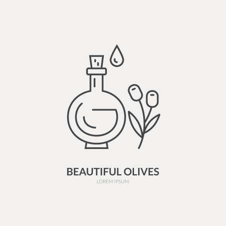 Icono de estilo de línea de una botella de aceite de oliva. Ilustración vectorial limpia y moderna.