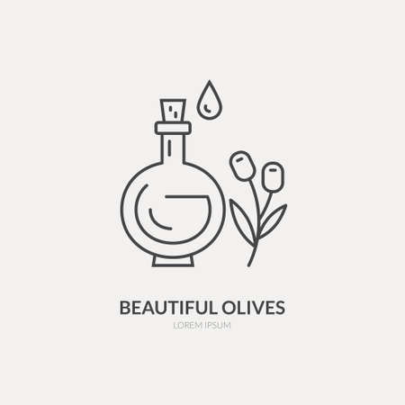 Line style icon of an olive oil bottle. Clean and modern vector illustration.