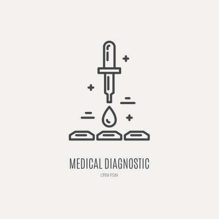 Blood test line vector illustration. Medical concept.