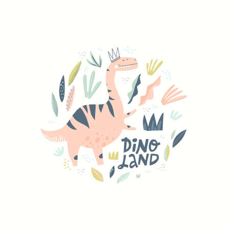 Dino girl color flat hand drawn vector character. Cute pink dinosaur. Girl power concept. Sketch T-rex with lettering. Tyrannosaurus. Isolated cartoon illustration for kid game, book, t-shirt, textile
