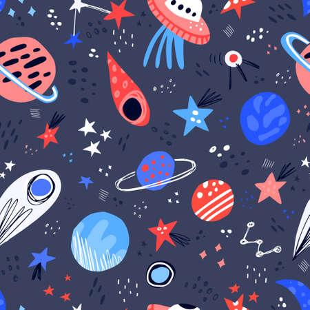 Modèle sans couture de vecteur de couleur dessinés à la main de l'espace. Texture de dessin animé avec des planètes, des étoiles, des ovnis, des comètes. Illustration scandinave de la galaxie spatiale. Univers de croquis. Web, papier d'emballage, remplissage de fond de griffonnage
