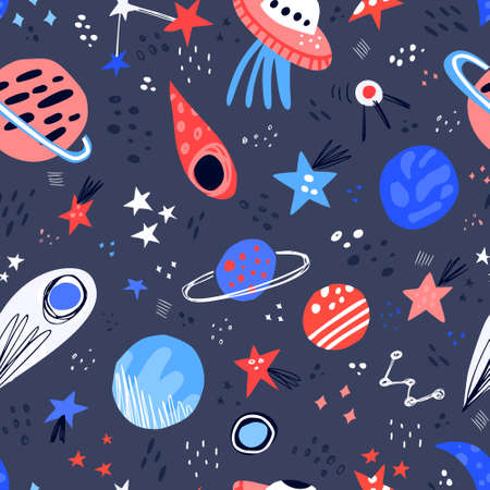 Space hand drawn color vector seamless pattern. Cartoon texture with planets, stars, ufo, comet. Space galaxy scandinavian illustration. Sketch universe. Web, wrapping paper, background doodle fill