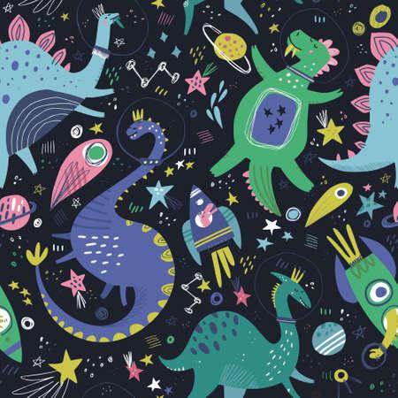 Dinosaures dans l'espace modèle sans couture de vecteur de couleur dessinés à la main. Personnages de filles Dino avec texture de dessin animé de planètes et de comètes. Esquissez de mignons reptiles du Jurassique. Papier d'emballage, textile pour enfants, remplissage de fond