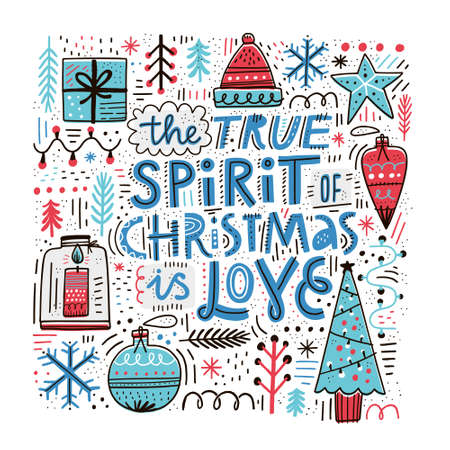 Christmas greeting card hand drawn vector template. Spirit of Christmas quote, slogan. Scandinavian style lettering. Winter holiday sketch decorations. Xmas, New Year poster, banner cartoon design Illustration