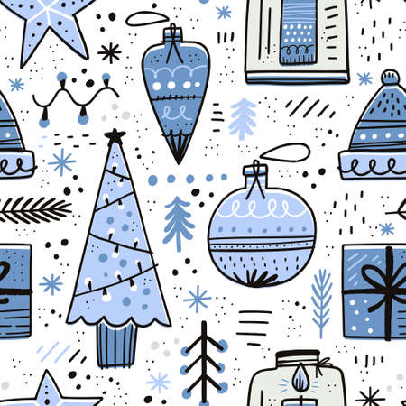 Christmas hand drawn seamless vector pattern. Xmas decorations sketch texture. Christmas ball, gift, fir tree clipart. Holiday scandinavian illustration. New Year textile, wrapping paper, background Illustration