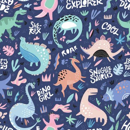 Lindos dinosaurios dibujados a mano color vector de patrones sin fisuras. Textura de dibujos animados de personajes Dino con letras. Ilustración escandinava. Boceto de reptiles jurásicos. Papel de envolver, textil, relleno de fondo