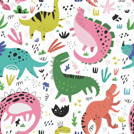 Cute dinosaurs hand drawn color vector seamless pattern. Dino characters cartoon texture. Prehistoric scandinavian illustration. Sketch Jurassic reptiles. Web, wrapping paper, textile, background fill Ilustração