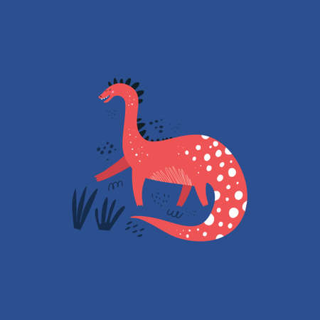 Cute dinosaur color hand drawn vector character. Dino flat handdrawn clipart. Sketch jurassic reptile on blue background. Prehistoric animal. Isolated cartoon illustration for kids game, book, t-shirt Illustration