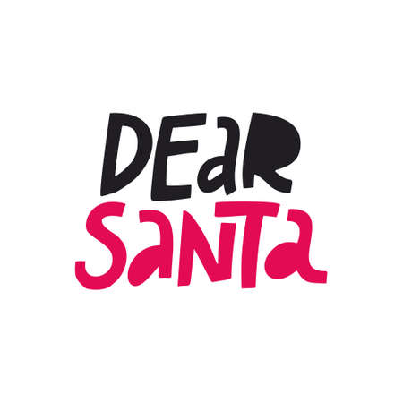 Dear Santa vector color lettering. Letter to Santa Claus design element. Christmas holiday wish list text. Hand drawn clipart. Xmas, New year poster, banner, greeting card, print isolated typography