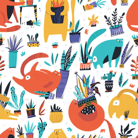 Guilty cat flat hand drawn vector seamless pattern. Cute, naughty and playful cats damage house plants cartoon texture. Kittens play with flower pots scandinavian illustrations. Color background fill