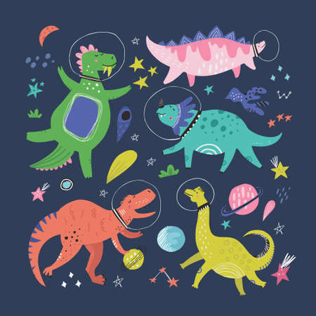 Cute dinosaurs in space hand drawn vector color characters set. Sketch dino astronauts, planets, comet. Jurassic reptiles doodle drawing. Isolated fantastic cartoon kids book, textile illustration