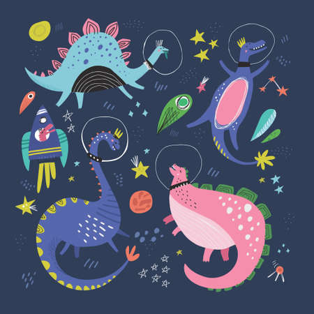 Cute dinosaurs in space hand drawn vector color characters set. Sketch dino astronauts, planets, rocket. Jurassic reptiles doodle drawing. Isolated fantastic cartoon kids book, textile illustration Illustration