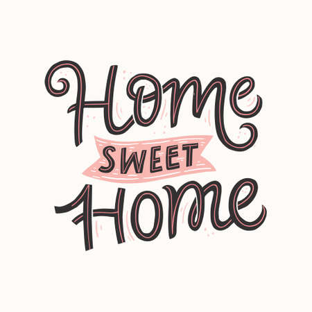 Home sweet home hand drawn vector lettering. Handwritten black calligraphic quote. Housewarming poster, banner. Isolated brush ink typography. Home decoration, print, textile color design element Иллюстрация
