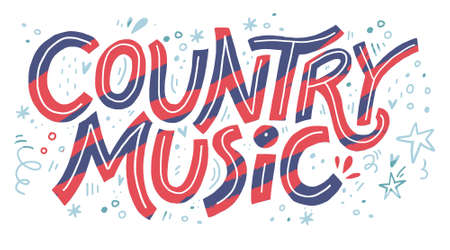 Country music festival banner color vector template. Hand drawn lettering. Cowboy fest advertising poster, invitation concept. Live music concert, event. Calligraphic western retro design element Ilustrace
