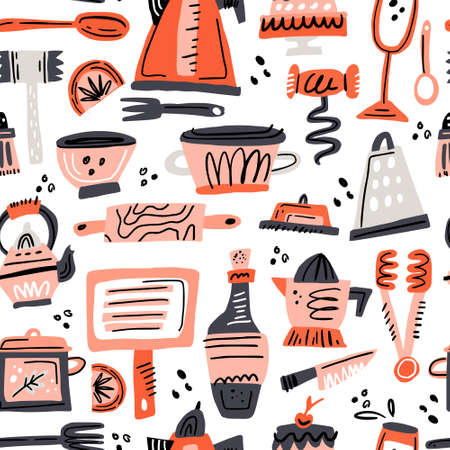 Cooking flat hand drawn seamless pattern. Kitchen utensil and appliance cartoon texture. Food preparation scandinavian illustration. Kitchenware sketch clipart. Kitchen textile, background vector fill