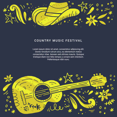 Country music festival retro poster vector template. Hand drawn live music concert, event banner concept. Acoustic guitar, cowboy hat grunge cliparts and text space. Color western vintage illustration