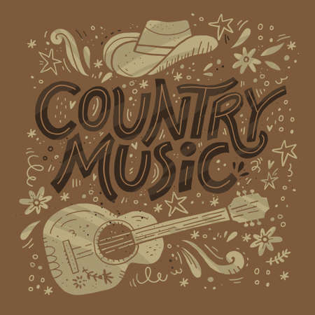 Country muziek festival retro poster vector sjabloon. Handgetekende letters. Cowboy fest banner, uitnodiging concept. Akoestische gitaar, cowboyhoed grunge cliparts. Kleur westerse vintage illustratie