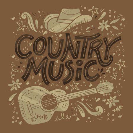 Modello di vettore di poster retrò festival di musica country. Iscrizione disegnata a mano. Banner festa cowboy, concetto di invito. Chitarra acustica, clipart di grunge cappello da cowboy. Colore western vintage illustrazione