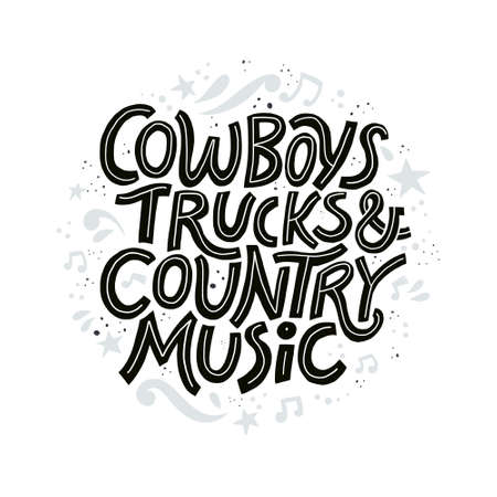 Country music festival poster vector template. Hand drawn black lettering. Cowboy fest advertising banner, invitation concept. Live music concert, event. Calligraphic western retro design element Zdjęcie Seryjne - 116800444