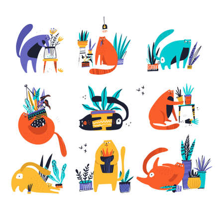 Guilty cat flat hand drawn vector color characters set. Cute, naughty and playful cats eat, damage houseplants. Kitten play with house plants, flower pots. Isolated scandinavian cartoon illustrations