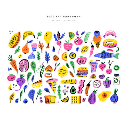 Food color hand drawn illustrations set. Fruits, vegetables, sweets, fish design elements. Nutrition flat handdrawn cliparts. Cooking ingredients sketch collection. Isolated scandinavian cartoon items Foto de archivo - 116800449