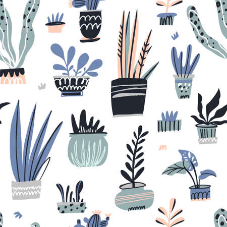 House plants hand drawn color vector seamless pattern. Flower pots cartoon texture. Houseplants scandinavian illustrations. Succulents and cactuses sketch cliparts. Indoor plants flat background fill Illustration
