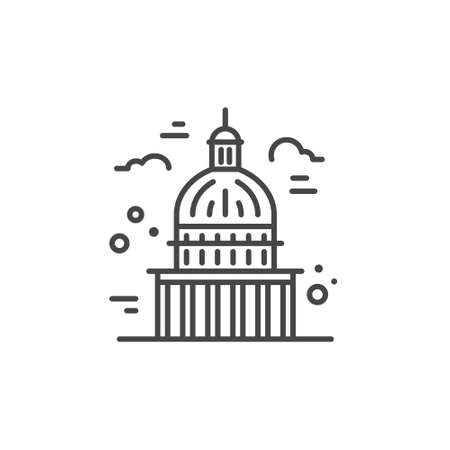 Linear illustration of a capitol. Vector line style icon. Illustration