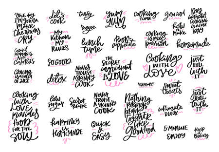 Cooking slogans handwritten black lettering set. Food preparation calligraphic quotes. Tasty meal positive brush ink calligraphy. Kitchen, restaurant, cafe menu vector hand drawn design elements
