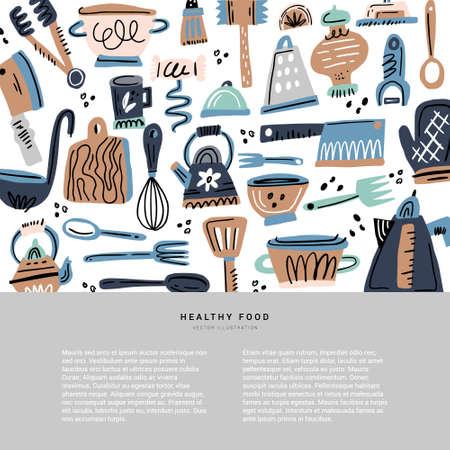 Naczynia kuchenne ręcznie rysowane ilustracji wektorowych. Przybory kuchenne z miejscem na tekst. Koncepcja plakatu kursy gotowania z lato. Szablon kreskówka przepis. Menu kawiarni w stylu skandynawskim, baner, strona książki kucharskiej