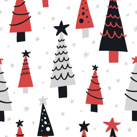 Christmas trees hand drawn seamless vector pattern. Xmas sketch texture. Color fir tree and stars toppers. Winter holiday scandinavian illustration. New Year textile, wrapping paper, background design Illustration