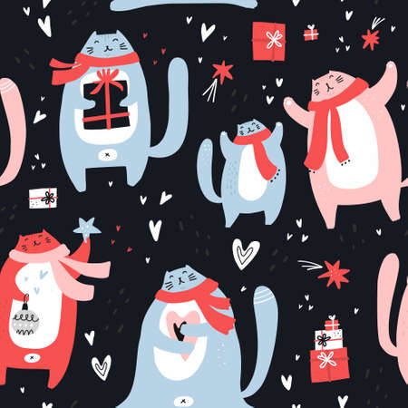 Christmas cute hand drawn seamless vector pattern. Cats characters with scarves and gifts celebrate Xmas. Winter holiday scandinavian illustration. New Year sketch textile, wrapping paper, background