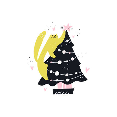 Cat decorate Christmas tree hand drawn character. Cute kitten getting ready for Xmas. Winter holiday celebration. Scandinavian style illustration. New Year greeting card, poster, banner clipart