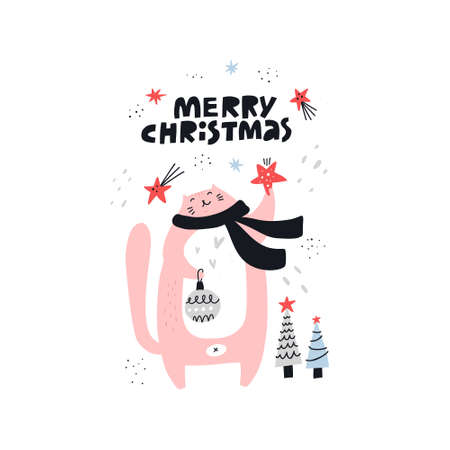 Merry Christmas hand drawn vector lettering. Sketch happy cat character celebrate Xmas. Fir tree decorations. Cute scandinavian illustration. Winter holiday greeting card, poster, banner template