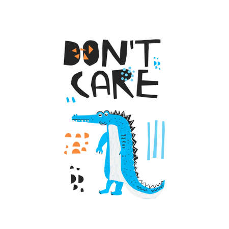 Careless crocodile hand drawn flat color illustration. Dont care black lettering. Lazy african animal isolated cartoon character. Funny blue alligator sketch drawing. T-shirt, typography design