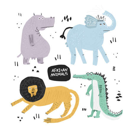 African animals hand drawn flat color illustrations set. Safari sketch drawings. Lion, crocodile, elephant, hippo cartoon characters. Funny cartoon cliparts collection. Scandinavian style background