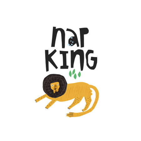 Funny lion hand drawn flat color illustration. Nap king handwritten black lettering. Sleepy, lazy african animal sketch drawing. Scandinavian style isolated cartoon character. Poster, t-shirt design Illustration