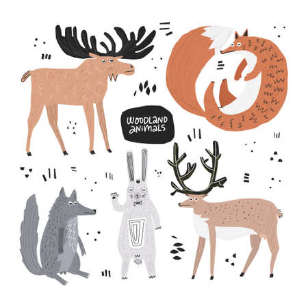 Woodland animals hand drawn flat color illustrations set. Lazy forest wildlife sketch drawings. Deer, fox, wolf, rabbit cartoon characters. Funny cliparts collection. Scandinavian style background